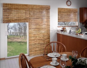 shades, bamboo, window treatment, sliding glass door